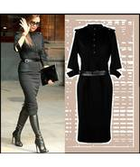 Victoria Beckham Designer Black Denim Executive Half Sleeved Midi Dress ... - $79.95