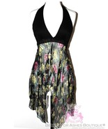 Angie Womens Handkerchief Black Halter Top Summer Floral Flowy Made in I... - $29.95