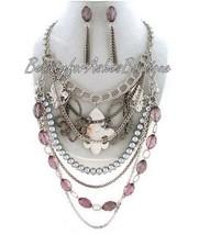 Fleur de Lis Charm Faux Pearl Purple Crystal Layered Chain Bib Necklace Glam Set - $39.95