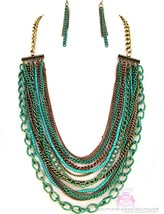 Turquoise Strands Multi Bib Patina Green Chunky Rustic Layered Necklace Set - $9.97
