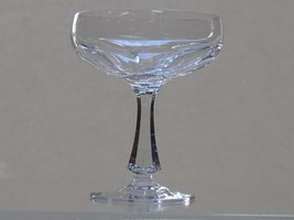 Cut glass champagne / desserts  fluted panel  4 pieces Signed - $54.82