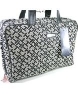 Tommy Hilfiger TH Logo Cosmetics Make up Travel Train Case Bag Black Gray NWT - $34.99
