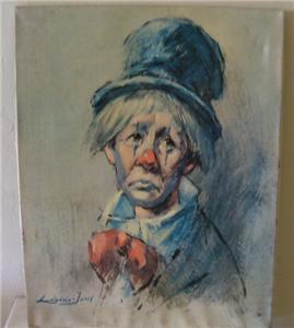 LEIGHTON -JONES 'CLOWN WITH THE TOP HAT' CANVAS LITHOGRAPH