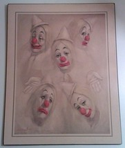LEIGHTON JONES FIVE CIRCUS CLOWNS LITHO PRINT ON BOARD - $289.14
