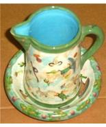 LESAL CERAMICS WATER PITCHER & BOWL POTTERY ART SET - $240.74