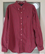 Ralph Lauren Classic Fit Shirt Men Size L Red Plaid Button Front Long Sleeve - $18.80