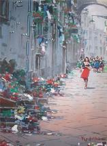 LISTED Signed Mario Ferdelba European Art Street Scene Vintage Painting ... - $2,155.99