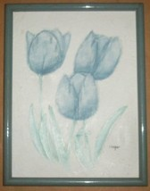 LYDIA COOPER BLUE TULIPS FLOWERS MIXED MEDIA PAINTING - $191.03