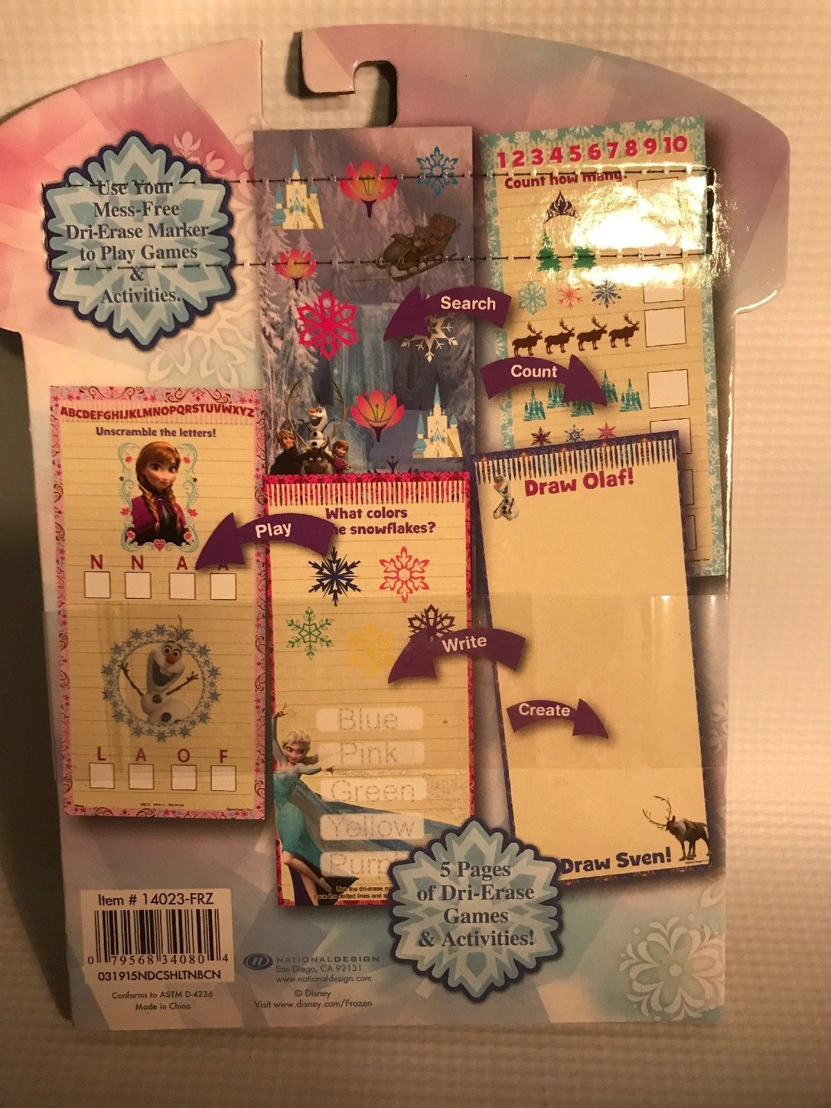 NEW:  Disney Frozen Dri-Erase Fun Activity and Game Pages (marker included)