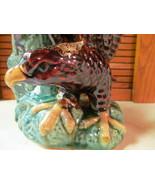 Majolica Eagle Tree Trunk Vase Planter Collector's Art Piece Blue Adler  - $345.51