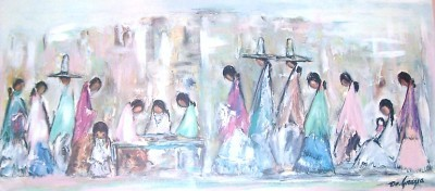 "Ted DeGrazia ""Navajo Fair"" Full Color Large Framed & Matted Art Print"