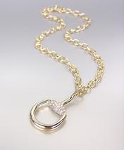 CHIC & STYLISH Designer Style Gold CZ Crystals Horsebit Pendant Chain Necklace - $29.99