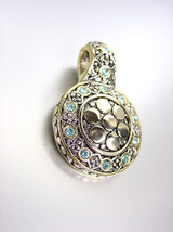 NEW Designer Style BALINESE Silver Gold Dots Blue Topaz CZ Crystals Pendant - $19.99