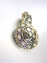NEW Designer Style BALINESE Silver Gold Dots Clear Topaz CZ Crystals Pendant - $19.99