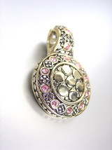 NEW Designer Style BALINESE Silver Gold Dots Light Pink Rose CZ Crystals Pendant - $19.99