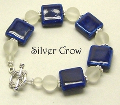 Blue Ceramic Squares Frosted Glass Bracelet - $14.99