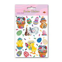 "Beistle Bunny, Basket & Egg Stickers 4 3/4"" x 7 1/2"" (4 Ct)- Pack of 12 - $20.20"