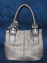 Tignanello Satchel Gold Pebble Grain Leather Handbag Purse Tote Bag Flawed - $17.00