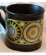 Brown Coffee Mug w Orange Design - Staffordshire P - $5.00