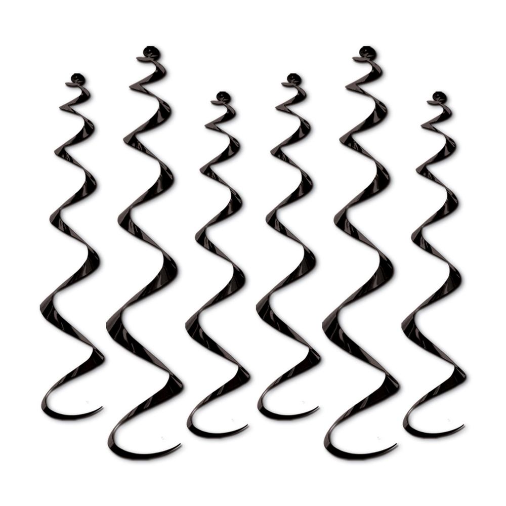 "Beistle Twirly Whirlys 4-24"" & 2-36"" (6 Ct) - Black- Pack of 6"