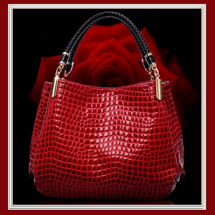 European Fashion Crocodile Style Genuine Leather Shoulder Braided Handle Handbag