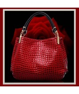 European Fashion Crocodile Style Genuine Leather Shoulder Braided Handle... - $63.95