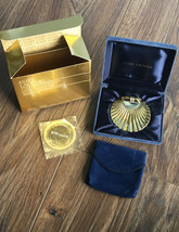 VTG ESTEE Lauder GOLDEN SHELL Translucent FACE Powder COMPACT & Puff in ... - $67.32