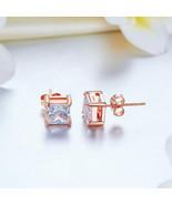2 Carat Princess Created Diamond Stud Earrings Sterling Silver Rose Gold... - $37.04