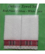 Pair Dollhouse Bath Towels Jacquelines Christmas white plaid ribbon 1:12... - $4.00