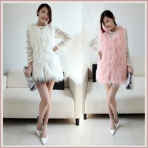 Luxury White or Pink Long Hair Angora Goat Faux Fur Long V Neck Fashion Vest