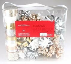 Wondershop Gold Silver White 264 Ft Ribbon 33 Bows Gift Wrapping Kit Set NEW