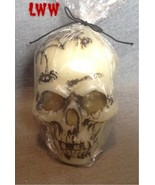Halloween White Skull Candle 4.5 inch tall Spider Web  - $9.99