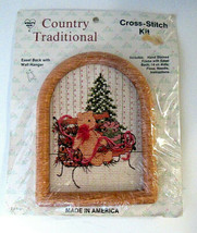 Country Traditional Cross Stitch Kit w/ Frame Christmas Teddy Bear Open ... - $10.00
