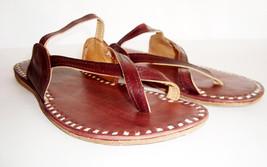 Indian Handmade Leather Slippers Women Mojari Flip Flops Flats handmade vintage  - $12.00