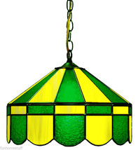 """GREEN & YELLOW 16"""" STAINED GLASS HANGING PUB LIGHT FIXTURE BAR LAMP - $399.95"""