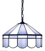 "POWDER BLUE & WHITE 16"" STAINED GLASS LIGHT HANGING BAR LAMP FIXTURE - $299.95"