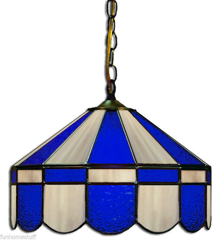 "Primary image for BLUE & GRAY 16"" STAINED GLASS HANGING PUB LIGHT FIXTURE BAR PUB TABLE LAMP"