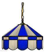 "BLUE & GRAY 16"" STAINED GLASS HANGING PUB LIGHT FIXTURE BAR PUB TABLE LAMP - €360,70 EUR"