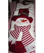3 Dimensional Snowman Christmas Tree Skirt Scarf Hat Red White 48 Inch NEW - $29.99
