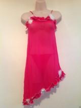 Nwt Stretch Lace Mesh Babydoll Thong Set S M Small Medium Pink Ruffled Feathers - $9.85