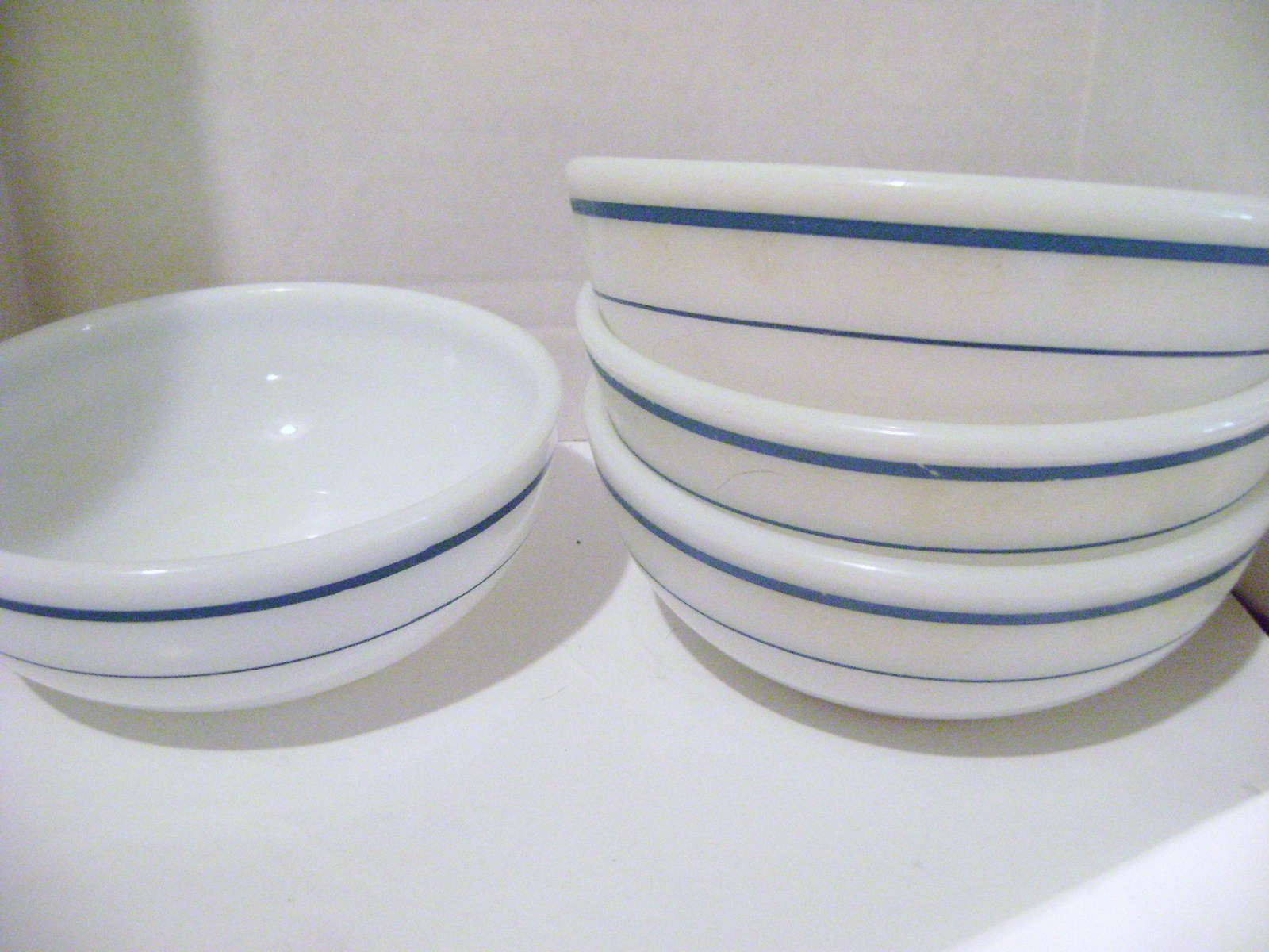 Primary image for Anchor Hocking & Pyrex Heavy Blue Band Soup Bowls