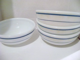 Anchor Hocking & Pyrex Heavy Blue Band Soup Bowls - $18.00