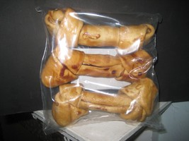 "3 pack chicken flavored rawhide bones 6-7"" - $4.75"