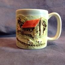 Otagiri 1981 Farm Farmhouse Coffee Mug Cup Raised Relief 3D Design - $29.21