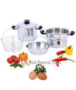 T304 Stainless Steel 8qt Stockpot/Spaghetti Cooker Deep Fry Basket & Ste... - $89.95