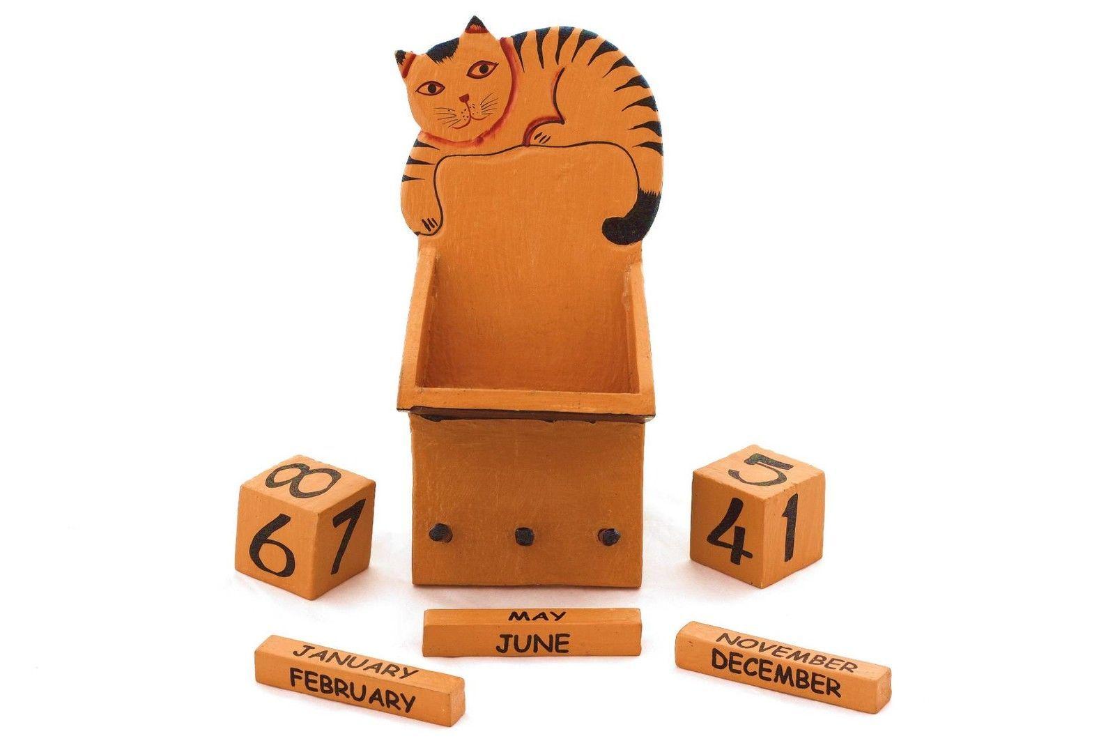 Wooden Wall Perpetual Cat Calendar Hand Made Removable Blocks & Key ...