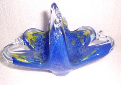 MURANO HANDBLOWN ABSTRACT SWAN  BASKET GLASS ART