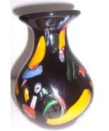 MURANO Style Handblown Black & Multi colored Ventian Art Vase - $484.49