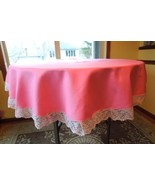 "Lovely Lace Trimmed 66"" Round PINK Tablecloth #6442 - $22.99"