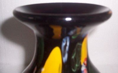 MURANO Style Handblown Black & Multi colored Ventian Art Vase